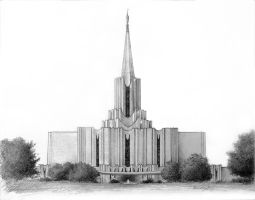 Jordan River Temple Drawing by BClary