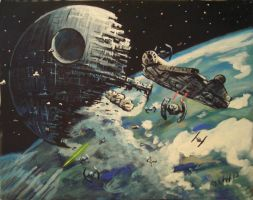 Battle at Endor my painting by cliford417