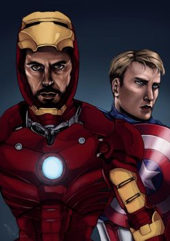 Iron Man, Captain America by cannorachan