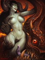 Succubus and Abaddon by KhezuG