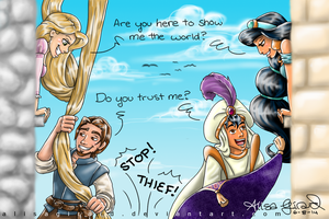 Tangled vs Aladdin by alisagirard