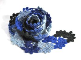 Crochet lace scarf in shades of blue by NitkaAG