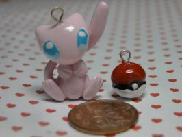 Polymer Clay Pokemon Mew Charm by sanxcharms