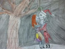 Jack and Sally under mistletoe by Marilovett