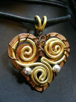 wire steampunk metal heart by BacktoEarthCreations