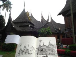 Live Sketch at Padang Traditional House by unda-RM
