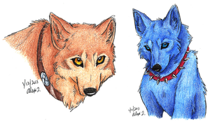 Hige and Blue headshots by Stray-Sketches