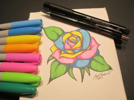 A colorful Rose by SapphireShy