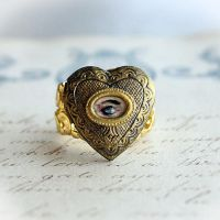 Lovers Eye Miniature Painting Locket Ring by asunder