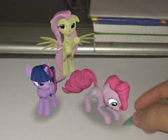 Fluttershy, Pinkie Pie and Twilight on paper. by Neros1990