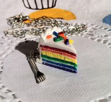 Rainbow Cake Slice Necklace by lessthan3chrissy