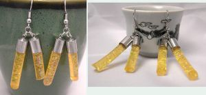Amber Tube Earrings by lavadragon