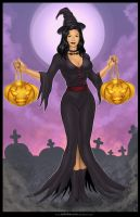 Commission:   GOTHIC Witch_Halloween girl by johnbecaro