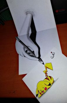 REAL 3D A HAND DRAWING PIKACHU by SudiLin