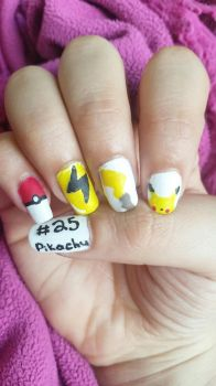 No. 025 Pikachu Nailart by DyeritsoJazzy
