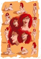 Scarlet sketches and thumbnails by Francoyovich