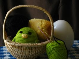 Bright Green Amigurumi Bird by Molybdenum-Blues
