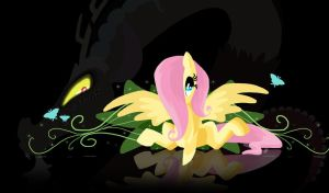 Fluttershy and Discord by LunarDawn