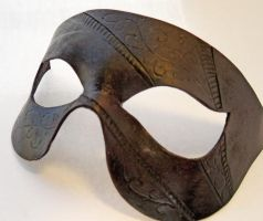 Black embossed leather mask by Shadows-Ink
