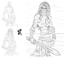 Conan the Barbarian pencils by Grigori77
