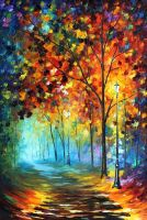 Fog Alley by Leonid Afremov by Leonidafremov