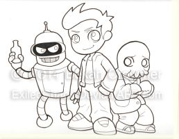 Indiana Comic Con Commissions - Futurama by ExiledChaos