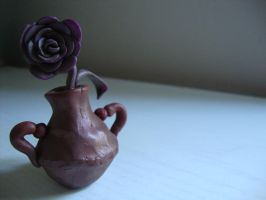 Clay rose and pot by Verymary1