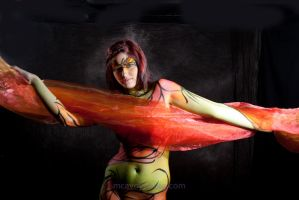 Red on Green Body Paint by oldmacman