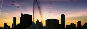 Panorama Chicago Sunset by BonaFideChimp