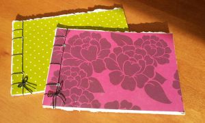 Green and Pink Stab Bind Books by Pepper-Dragon