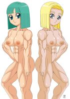 Commission: Bulma and Android 18 Nude by crosscutter