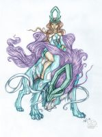 Suicune Rider: colored version by Vattukatt