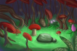 Mushroom forest by Gamingal