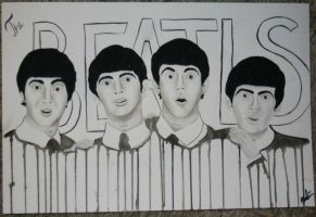 The Beatles watercolor by EbbaOzolins