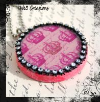 Girly Girl Pink Crown Pendant by kelleejm1