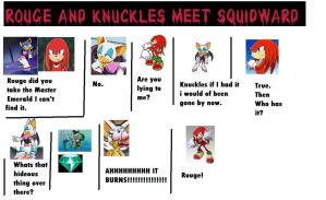 Rouge and Knux meet Squidward by COCOAJB