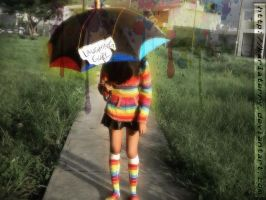 LaughingGurl-FanSign :.Rainbow Umbrella.: by KarlaTerry