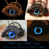 Teal Glow In The Dark Dragon Eye Pendant - Wire by LadyPirotessa