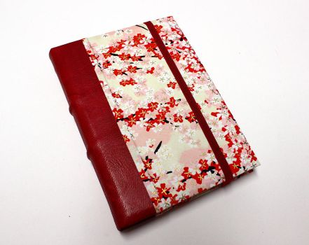 Leather Journal - Red  Flowers by GatzBcn