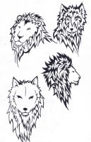2 lions and two wolves by wolfds