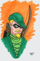 Green Arrow Headshot Colored by RichBernatovech