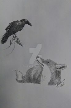 Fox and Raven by Raven207b