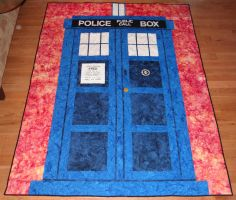 Tardis Quilt with St John by quiltoni