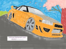 Nissan R34 GT-R CWEST Style(Sakura Tree)full color by Shirowe