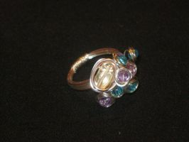 beaded wire wrapped ring by faranway