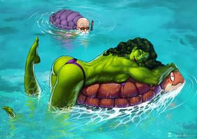 She-Hulk, a Turtle, and Master Roshi By Soniamatas by cerebus873