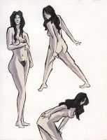 Ink and Watercolor Nudes 3 by zacharyknoles