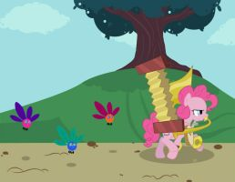 Pinkie Pie with parasprites by erysz