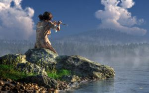 Flutist on the Lake by deskridge