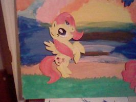 Re-purposed art 2 Fluttershy Close Up Canvas by SpaceRanger108